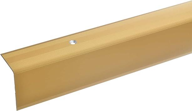acerto 38072 Perfil angular de escalera de aluminio - 100cm 42x30mm dorado * Antideslizante * Robusto * Fácil instalación | Perfil de borde de escalera perfil de peldaño de escalera de aluminio: Amazon.es: Bricolaje y herramientas