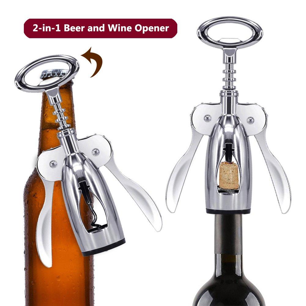 Premium All-in-one Wine Corkscrew and Bottle Opener With Bonus Wine Stopper Foho Wing Corkscrew Wine Opener Handheld Design Waiters Corkscrew Stainless Steel