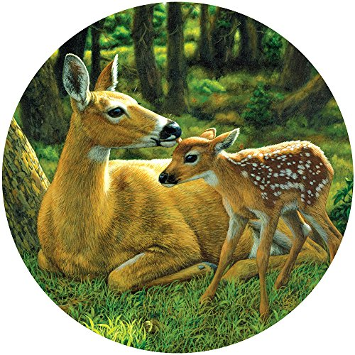 Bits and Pieces - 500 Piece Round Puzzle - First Spring - Deer and Fawn Puzzle - by Artist Crista Forest