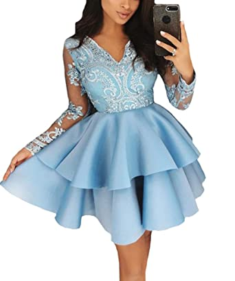 Long Sleeves Homecoming Dress Short Lace Appliques Ball Gowns Juniors Prom Dresses 2018 Light Blue US0
