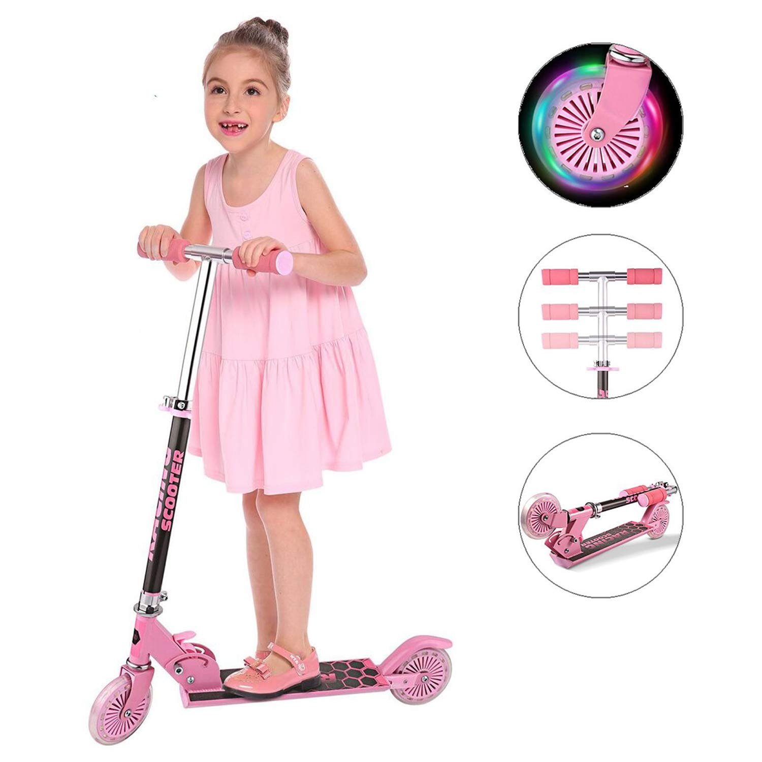 Yiilove Aluminum Scooter Foldable Kick Scooter 2 Wheel Adjustable Height Mini Kick Scooter with LED Light Up Wheels for Boys and Girls Kids Toddler (Pink)