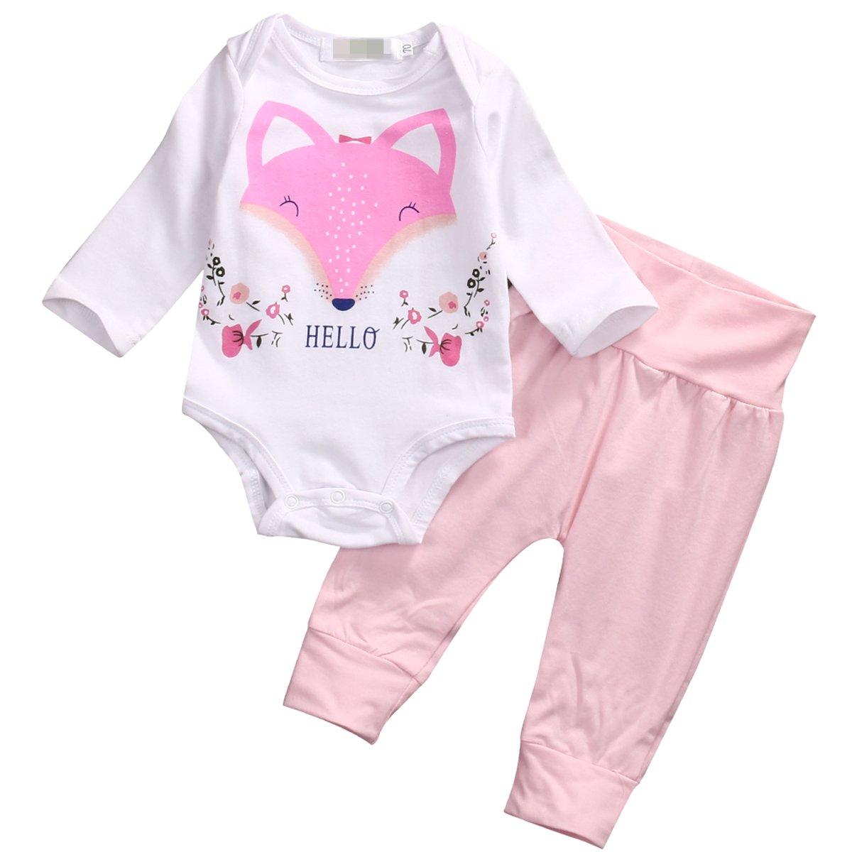 Flower Tiger Newborn Baby Girl Hello Fox Long Sleeve Bodysuit+Leggings Pants 2Pcs Outfit Clothes
