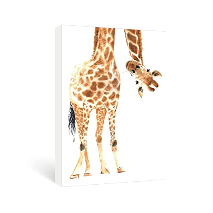 SUMGAR Cute Giraffe Framed Wall Pictures For Nursery Room Canvas Wall Art  Ready To Hang Girls