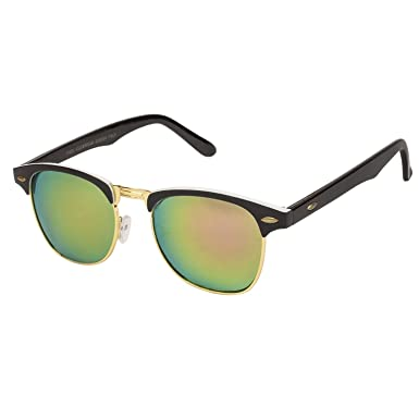 42a2289914 Arzonai Ultimate Clubmaster Shape Black-Yellow Mirrored UV Protection  Sunglasses For Men   Women  MA-094-S17    Amazon.in  Clothing   Accessories