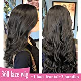 360 Lace Frontal Wig 130% Density Unprocessed Remy Human Hair with Baby Hair for Women Pr-Plucked Natural Hairline Bleached Knots Free Part like Full Lace (16'' Long, Body Wave, Off Black 1B)