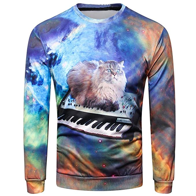 ITISME Herrenhemd Arbeiten Sie Mens-Langes Hülsen-Oansatz Sweatshirt 3D  Gedruckte Kausale Oberseiten- 7443f94355