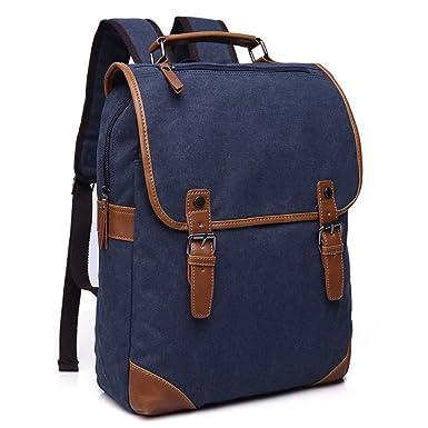 Minetom Lona Backpack Mochilas Escolares Sencillo Mochila Escolar Casual Bolsa Viaje Moda Hombre Azul One Size