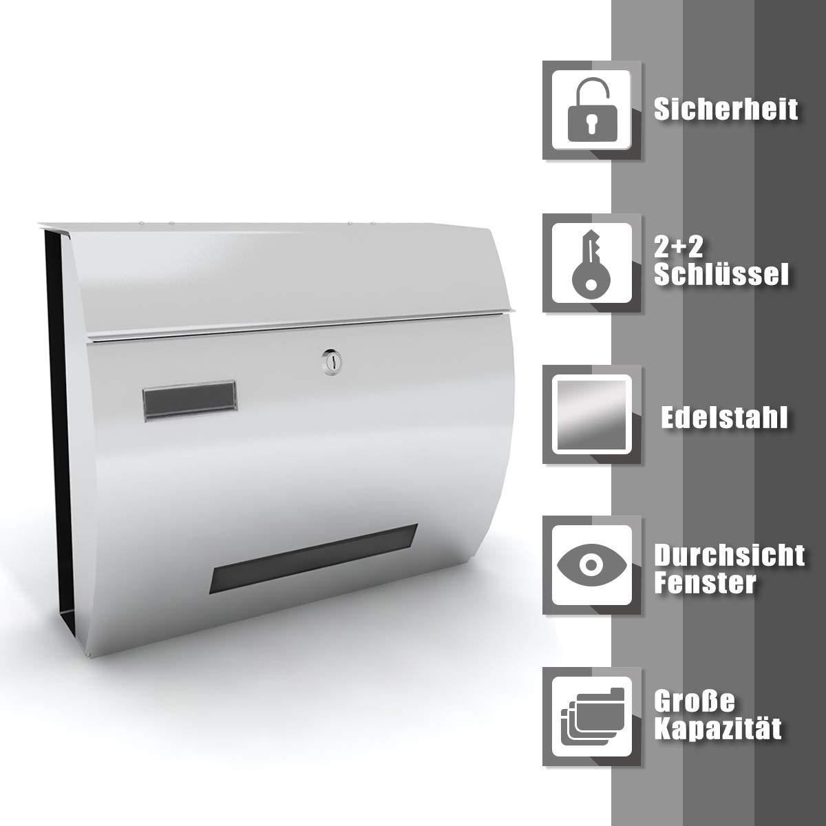 Deswell Buzón Exterior Acero Inoxidable Cubo de Periódico 370 * 300mm Diseño Impermeable Blanco Pateado: Amazon.es: Hogar