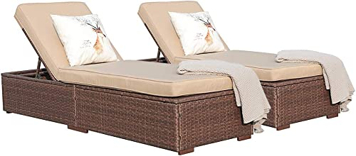 Super Patio Outdoor Chaise Lounge Chair, PE Wicker Rattan Adjustable Pool Lounge Chair, Steel Frame with Removable Cushions, Beige Set of 2