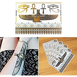 COKOHAPPY 5 Sheets Metallic Temporary Tattoo Egyptian Cleopatra Ankh Cross Eye of Horus Gold Silver Shine Beach Armband