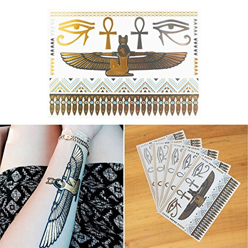 COKOHAPPY 5 Sheets Metallic Temporary Tattoo Egyptian Cleopatra Ankh Cross Eye of Horus Gold Silver Shine Beach Armband - Egyptian Tattoos