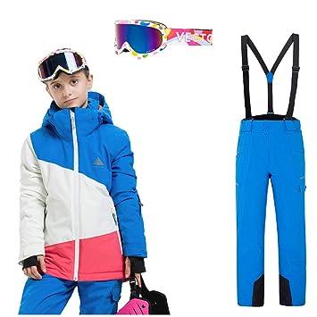 QZH Chaquetas y Pantalones de esquí de Invierno para niños y niñas ...