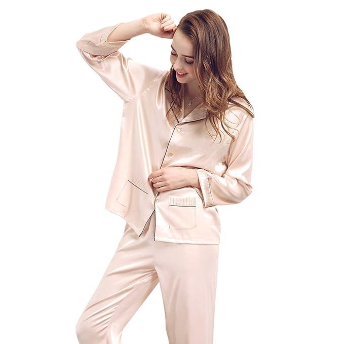 Conjunto de pijamas de satén de seda para mujer Conjunto de pijamas de dormir, TieNew