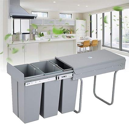 YIYIBY Einbaumülleimer küche, Schienensortierung Mülleimer Mülltrennung  Einbau Abfallsammler Mülleimer 48x26 x42cm 10Lx3