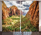 National Parks Home Decor Curtains Utah Plateau Mojave Desert Southwest Erosion Navajo Artprint Living Room Bedroom Window Drapes 2 Panel Set Brown Green