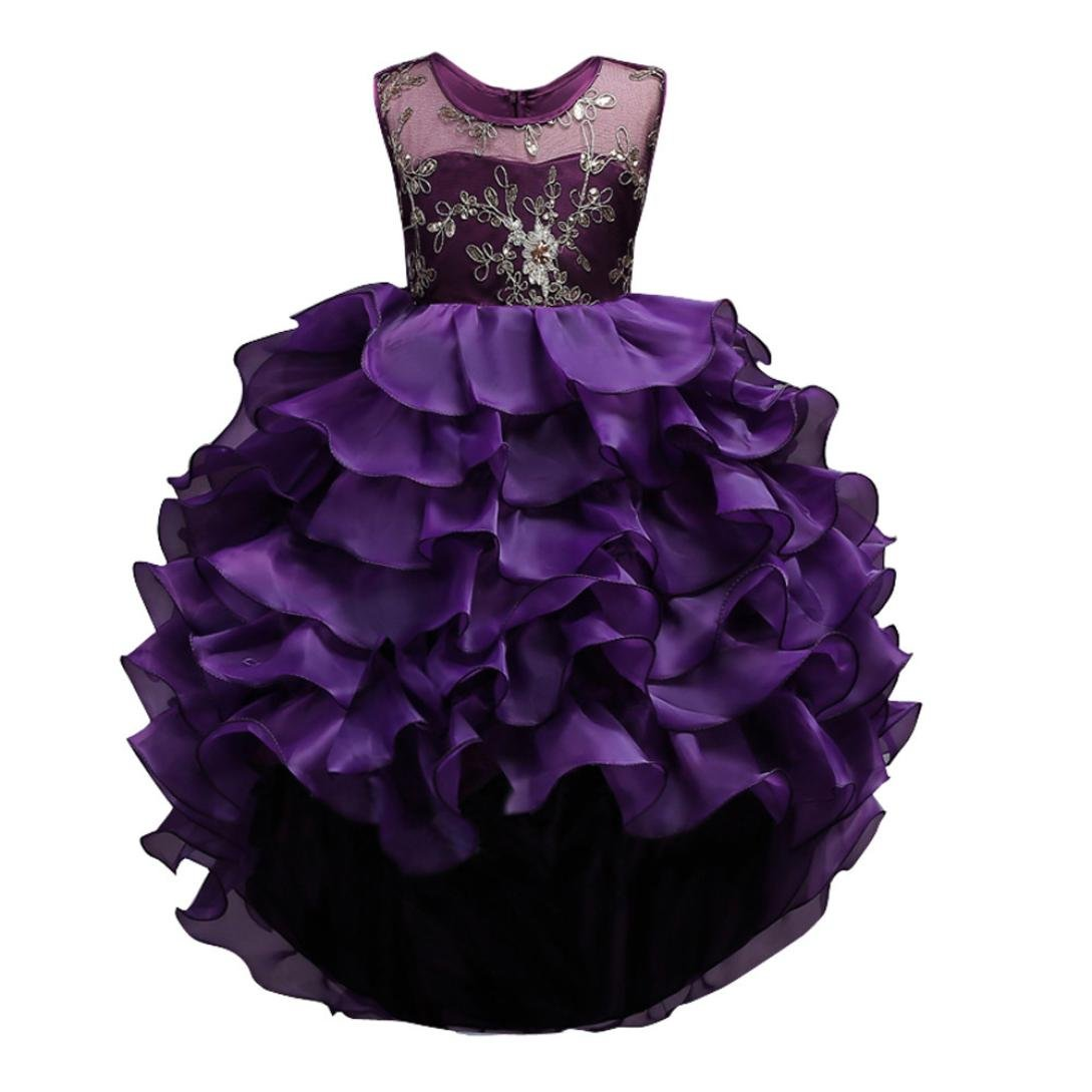 Sunward 2018 New 2-14 Years Girls Wedding Party Dress Pageant Baby Ruffles Tulle Princess Dresses (Purple, 3T)