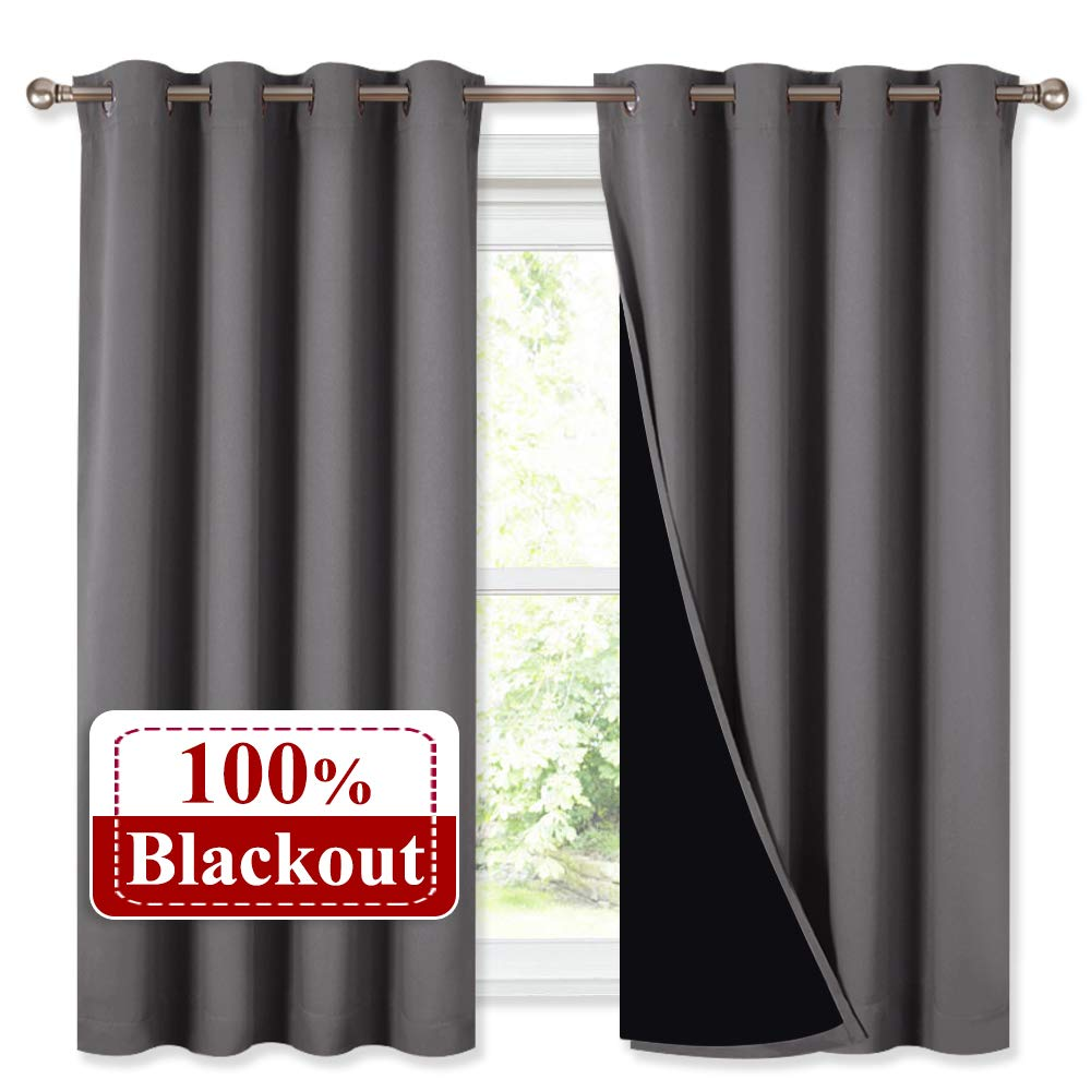 NICETOWN 100% Blackout Curtains with Black Liners, Thermal Insulated Full Blackout 2-Layer Lined Drapes, Noise Cancellation Window Draperies for Dining Room (Grey, 2 Panels, 52-inch W by 54-inch L)