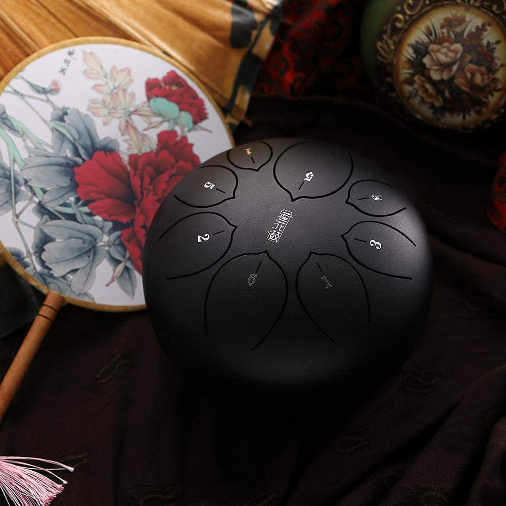 6-8 Inches Steel Tongue Drum,Beautifully Finished and Peaceful Sound Percussion Instrument Drum with Padded Drum Bag and A Pair of Mallets