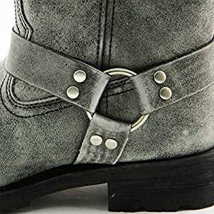 Xelement LU2605 Womens Stone Wash Black Leather Harness Motorcycle Boots - 8