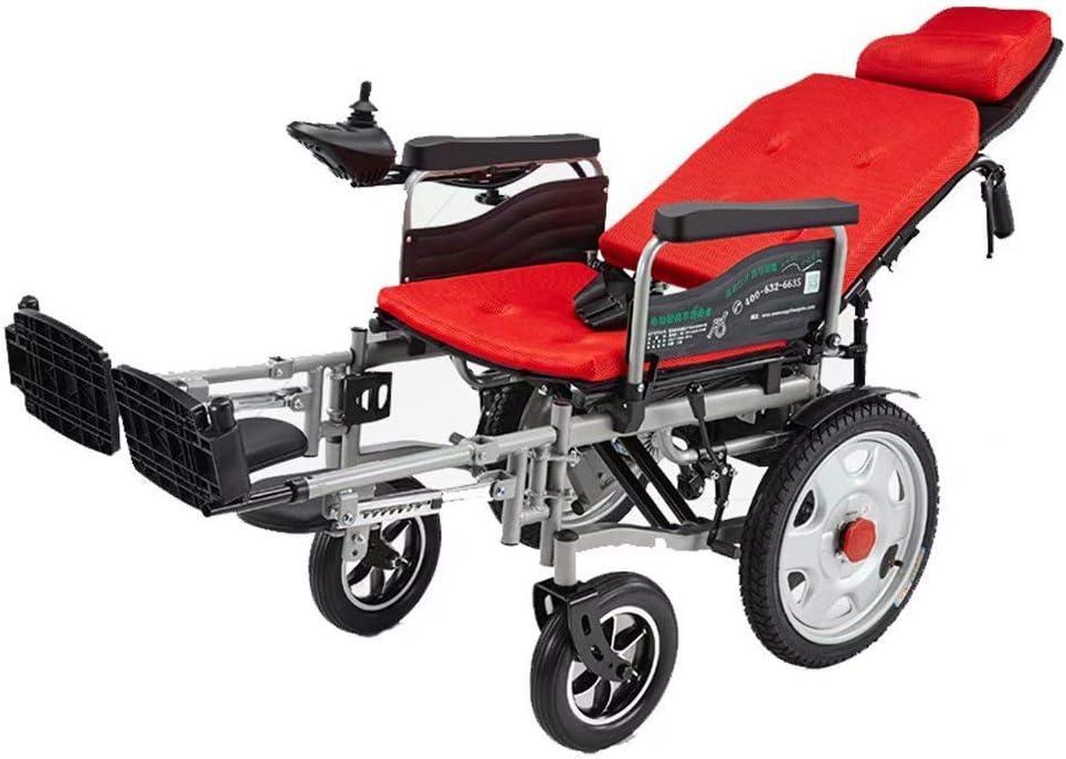 SISHUINIANHUA Silla de Ruedas eléctrica, portátil Plegable, Adecuada para Personas Mayores y discapacitadas, Peso: 100 kg (con batería de Litio 20A)