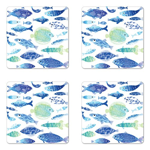 Lunarable Blue Coaster Set of Four, Artisan Fish Patterns with Wavy Lines and Sky Cloud Motifs Marine Sea Life Image, Square Hardboard Gloss Coasters for Drinks, Blue Seafoam