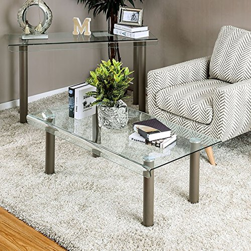 Walkerville II Beige Glass/Metal Coffee Table by Furniture of ()