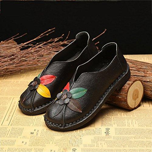 Btrada Damesschoenen Klassiek Plat Instapmodel Loafers Casual Damesschoenen Bloemen Zacht Rijdende Mocassinschoenen Zwart