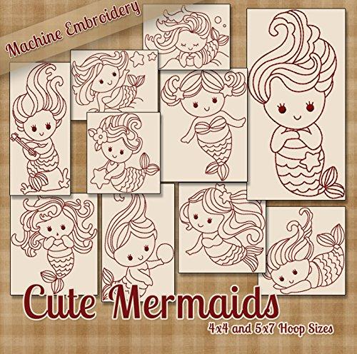 Cute Mermaids Redwork Embroidery Machine Designs on CD - Multiformat