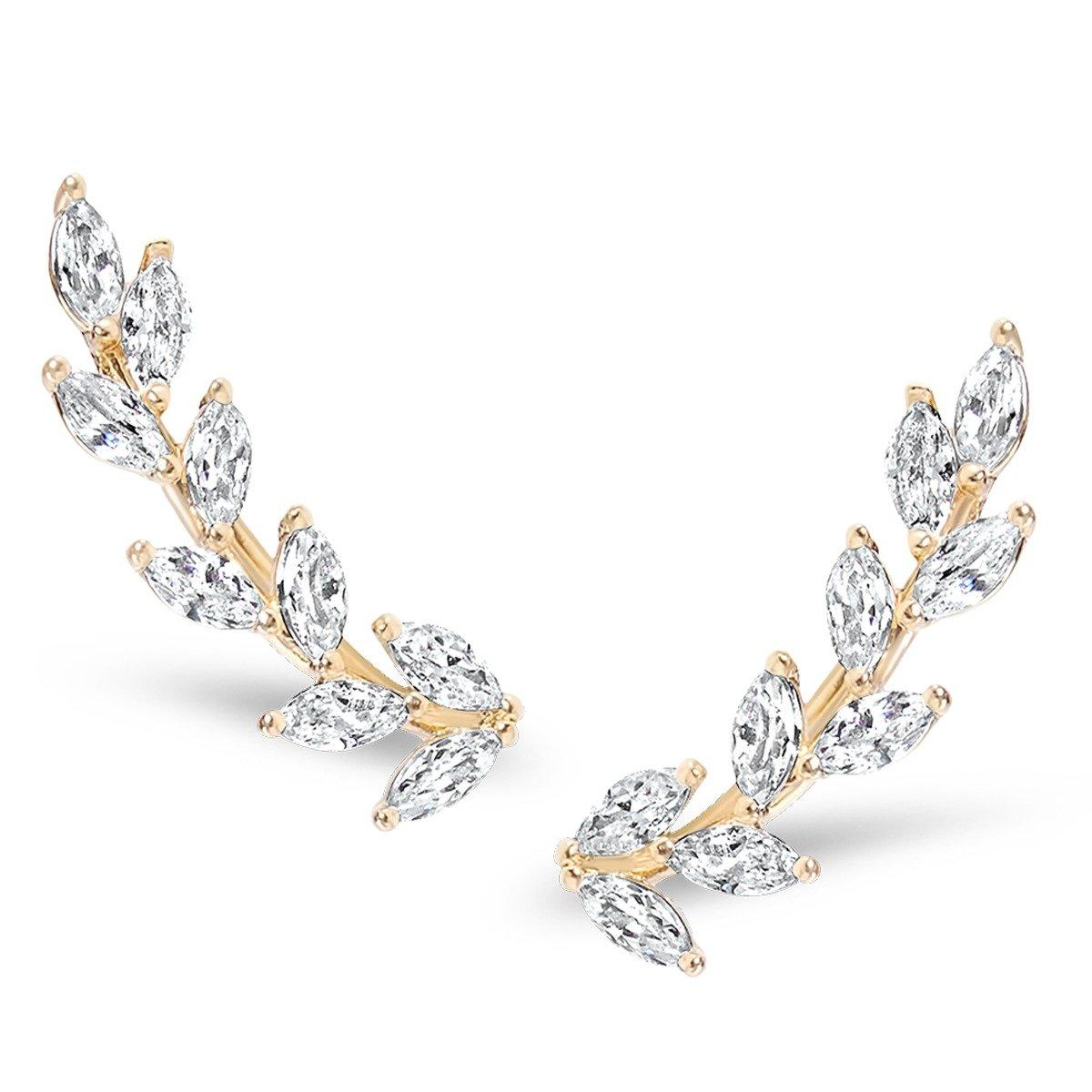 Humble Chic Crystal Leaf Ear Climbers - Simulated Diamond Flower Crawler Cuff Stud Earrings, Gold-Tone Petals