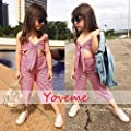 Toddler Baby Girl Summer Clothes Overalls Backless Jeans Denim Suspenders Outfit Bell-Bottom Blue Pants (Red, 4-5T)