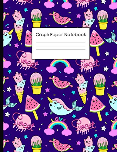 Graph Paper Notebook: Kawai Style Pattern Quad Ruled 4 x 4 (.25'') Composition Book for Math & Science Students and Teachers