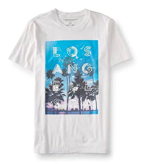 8bb62e39bdb55c Aeropostale Mens Los Angeles So-Cal Graphic T-Shirt White 2XL ...