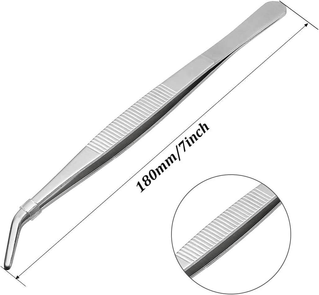 Awclub 2Pcs 7-Inch Stainless Steel Tweezers with Curved Pointed Serrated Tip