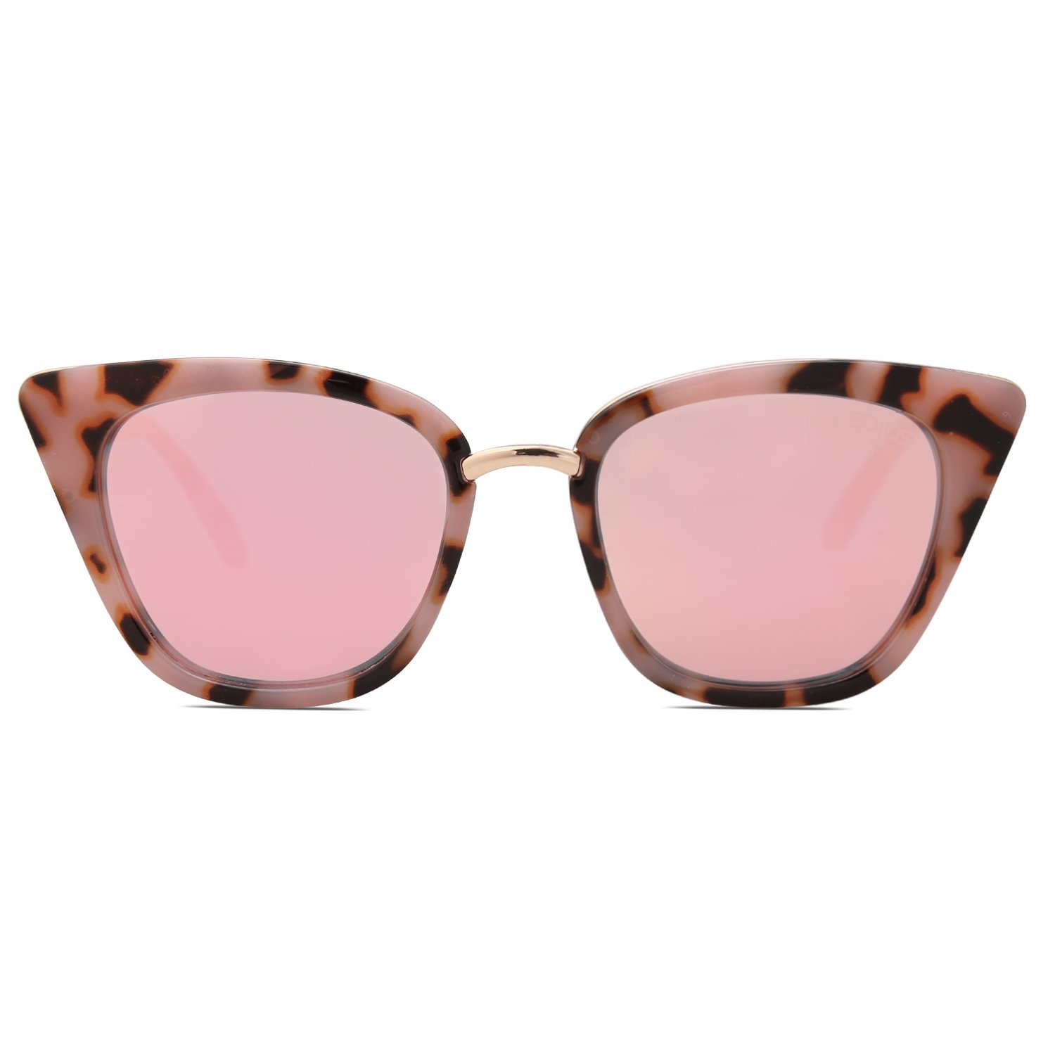 SOJOS Cat Eye Brand Designer Sunglasses Fashion UV400 Protection Glasses SJ2052 with Pink Tortoise Frame/Pink Mirrored Lens by SOJOS