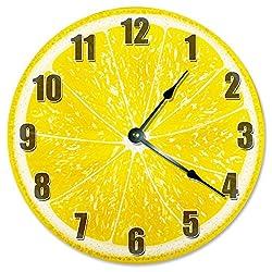 Large 10.5 Wall Clock Decorative Round Wall Clock Home Decor Novelty Clock LEMON FRUIT