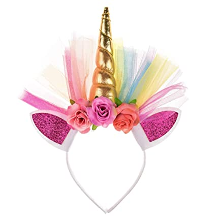 NiceButy Unicorn headband glitter sequins unicorn hairband cute unicorn  headband horn children party birthday Christmas costume party (gold)   Amazon.co.uk  ... 7a575ace6dc