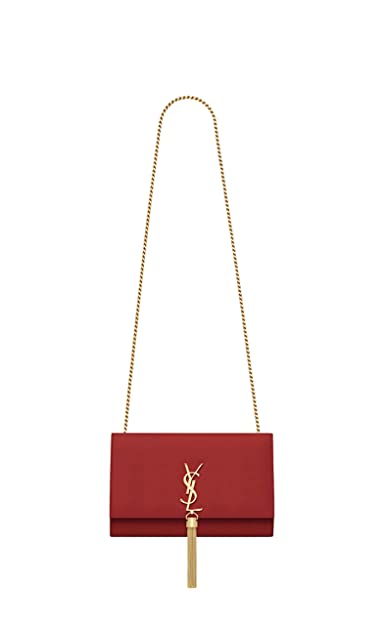 4d435c5aae5 Paper Yves Saint Laurent monogram kate with tassel kate medium with tassel  in smooth leather women Shoulder Bag Classic New (red): Handbags: Amazon.com
