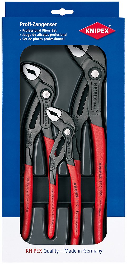 Knipex 00 20 09 V02''Cobra'' Pliers Set (3 Piece) by KNIPEX Tools