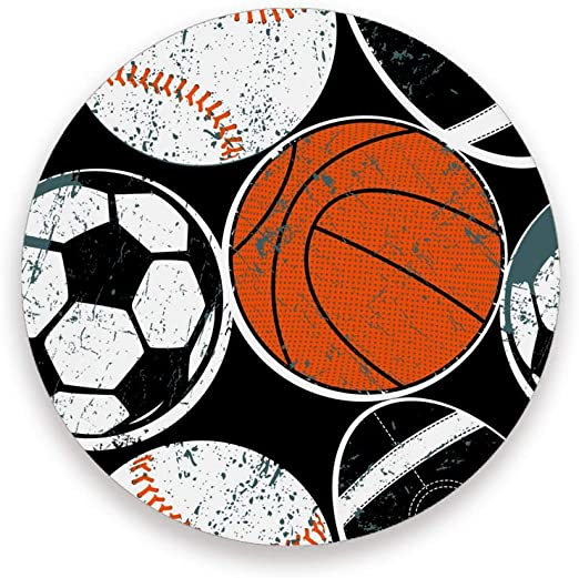 Amazon Com Kuizee Ceramic Drink Coasters Set Sports Balls Cartoon Football Basketball Baseball Absorbent Coaster Apartment Kitchen Room Bar Decor Round Cork Base 3 9 Inch Coasters