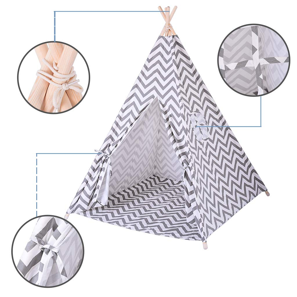 Kids Teepee | Tent for Kids Play Tent with Mat & Carry Case for Indoor Outdoor,5.5x36.6x4.3in -Ship from US! (D)
