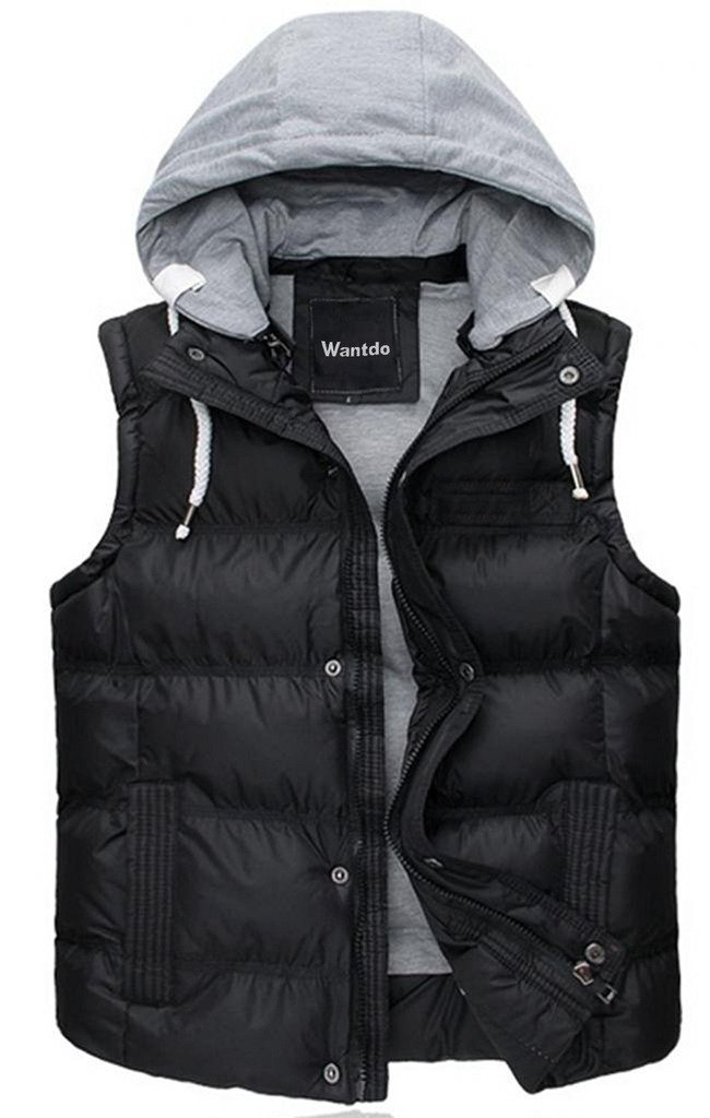 Wantdo Women's Quilted Padding Puffer Vest Outwear With Removable Hood US Large Black