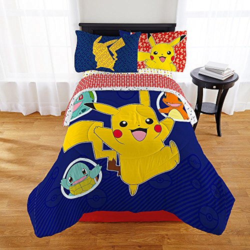 Multicolored Pokemon Pikachu Twin Comforter For Kids Soft Polyester Fabric Sheet