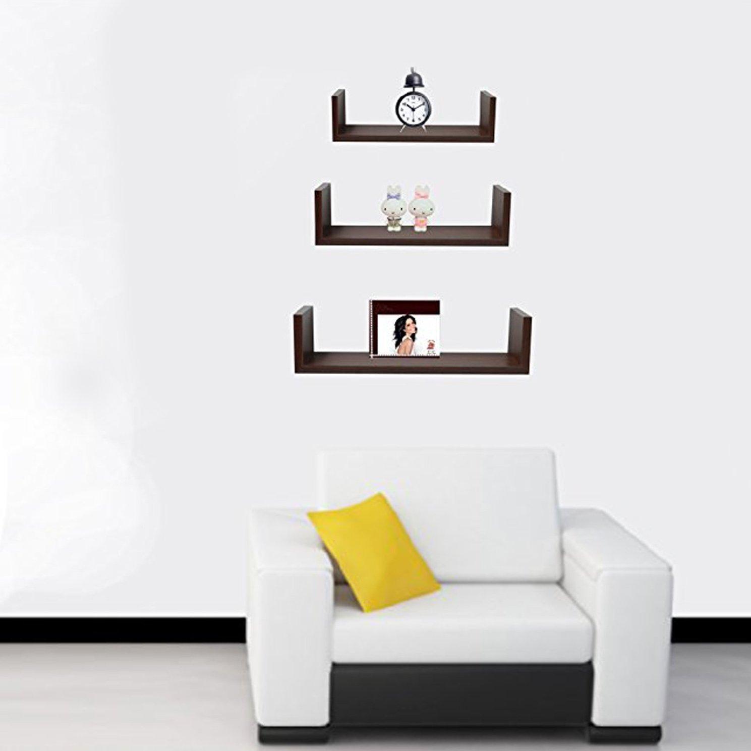Amazon.com: Halter Wall Shelves - Set of 3 U Shaped Floating ...