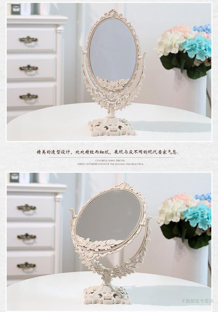 EasyChic Double Sided Ornate Freestanding Table Top Mirror Dressing Table Mirror Vintage Vanity Mirror Bedroom Bathroom Mirror Shabby Chic ABS Yishang