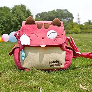 [Love Mio Mio] Embroidered Applique Kids Kitty Shoulder Bag / Swingpack / Travel Bag (8.3*7.5*2.4)