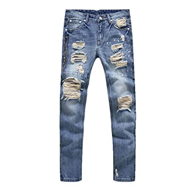 compare price shop best sellers new concept PrettyChic Men's Ripped Jeans Tapered Slim Fit Zipper Skinny Distressed  Jeans