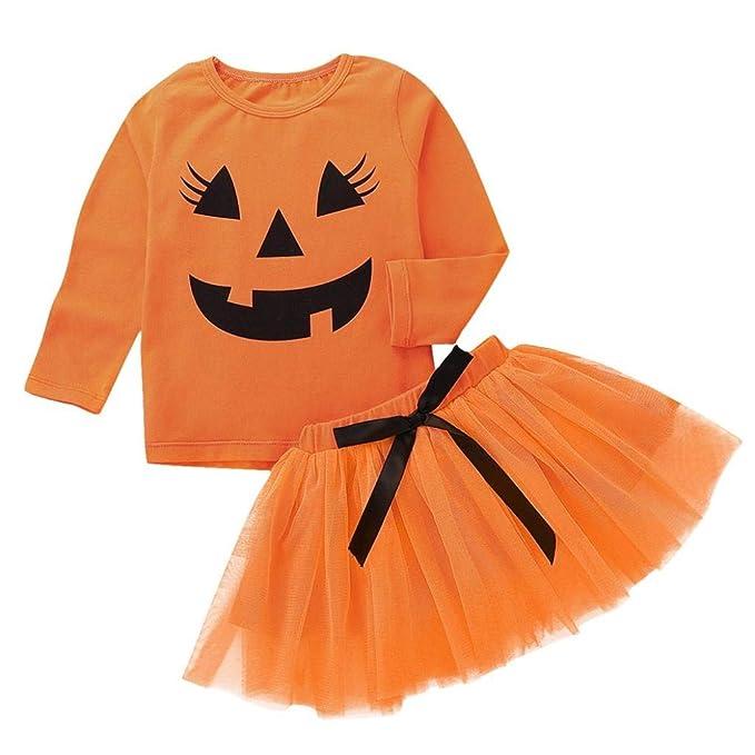 Gusspower Manga Larga para niños Dibujos Animados de Halloween Pumpkin Top +Arco Traje de Falda