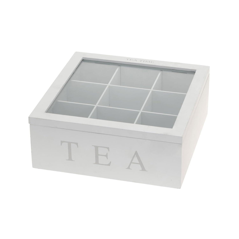 Luxe houten Theedoos Wit - Tea Time (9 vakken) AM/63