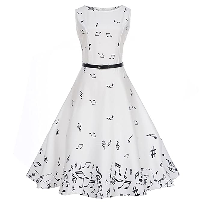 5c8c3bd77b HÖTER 1950's Vintage Music Note Print Retro Party Cocktail Swing Dress for  Women with Belt S-2XL