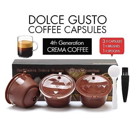 i cafilas Filtros Cápsulas Café Recargable RELLENABLES Reutilizable para Cafetera Dolce Gusto Crema Resistente Más de